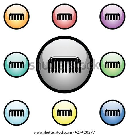 Comb Icon Glass Button Icon Set.  Raster Version - stock photo