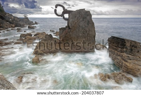 Comb of the Wind (Peine del viento, Chillida) in San Sebastian(Donostia) - stock photo