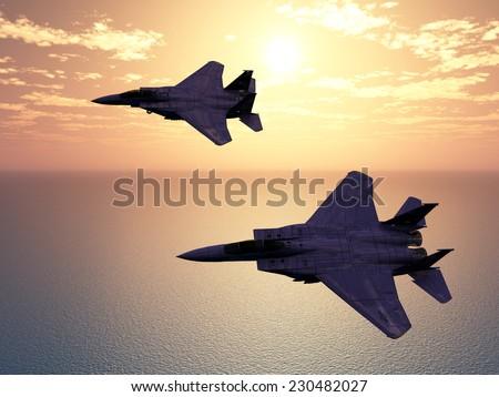 Combat Aircrafts Computer generated 3D illustration - stock photo