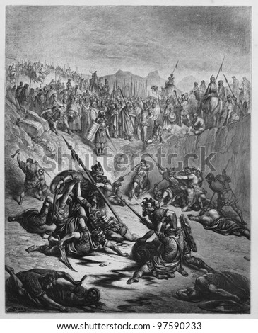 Combat Soldiers of Ish-bosheth and David - Picture from The Holy Scriptures, Old and New Testaments books collection published in 1885, Stuttgart-Germany. Drawings by Gustave Dore. - stock photo