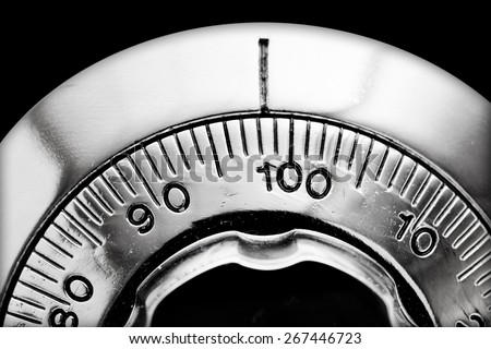 Combination lock detail from safety box - stock photo