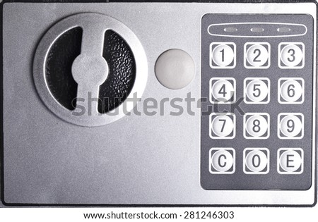 combination lock on the safe closeup gray - stock photo