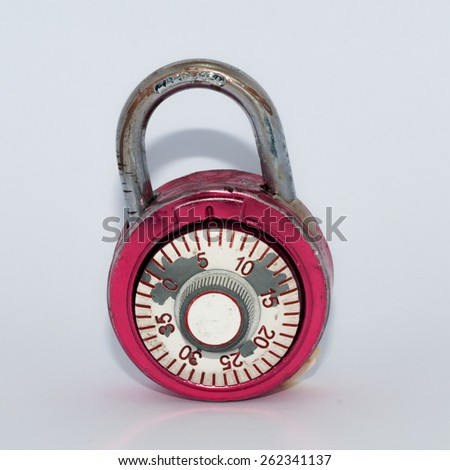 Combination lock, unlocked, on white background - stock photo