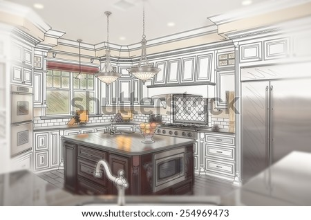 Combination of Beautiful Custom Kitchen Design Drawing with Ghosted Photo Behind. - stock photo