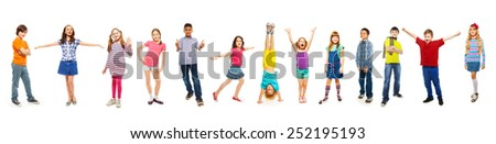 Combination of boys and girls isolated on white - stock photo