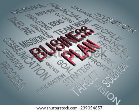 combination of business quote with business plan has been high lighted in red color - stock photo