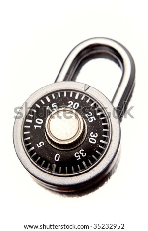 Combination padlock isolated over white - stock photo