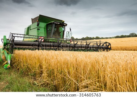 Combine harvester at work harvesting field of crop. Harvest season themes and other agriculture - stock photo