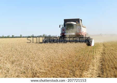 combine harvester on a wheat field with a blue sky - stock photo