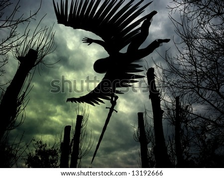 Combined 3D render and photography of an angel with wings and sword, forest and dark clouds. - stock photo
