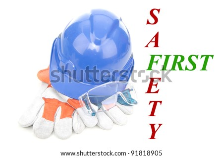 Combined of three item personal protective equipment (PPE) with input of safety first isolated on white background. - stock photo
