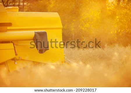 Combiner harvesting wheat field in detail of backside - stock photo