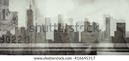 Combining the profile of New York City and one dollar bills - stock photo