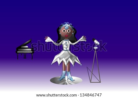 Come on sing along, is a female singer against a purple and blue background. - stock photo
