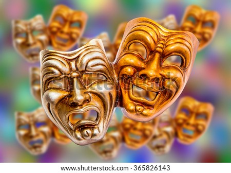 Comedy and Tragedy theatrical venetian mask - stock photo