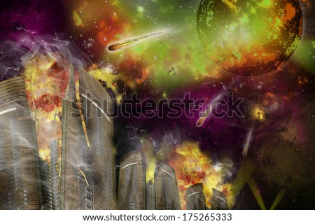 Comet attack at night. - stock photo