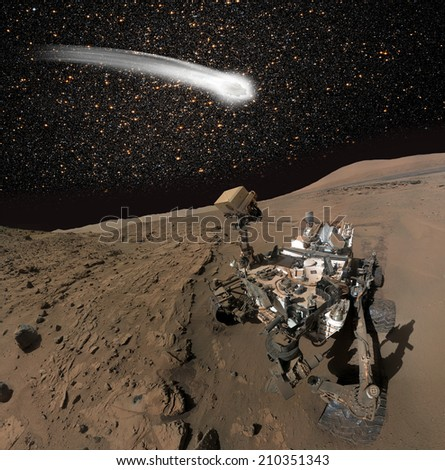 "comet C/2013 A1 over the Martian landscape""Elements of this image furnished by NASA"".  - stock photo"
