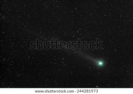 Comet Lovejoy  (C/2014 Q2) on 14/01/2015. The picture is 6.7 degrees across (13 times larger than the full Moon). - stock photo