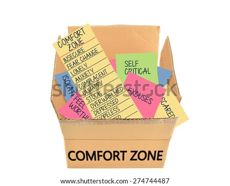 Comfort Zone Box (Unhappy, Depressed, Low Self Esteem, Complacency, Stuck, Excuses, Self Critical) isolated on white background - stock photo