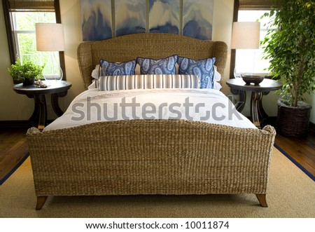 Comfortable bedroom and modern decor. - stock photo