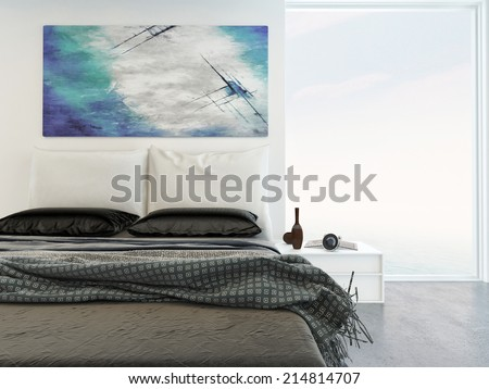 Comfortable bright bedroom interior with a close up view of a double bed with throw rugs under an abstract wall painting with a large view window alongside - stock photo