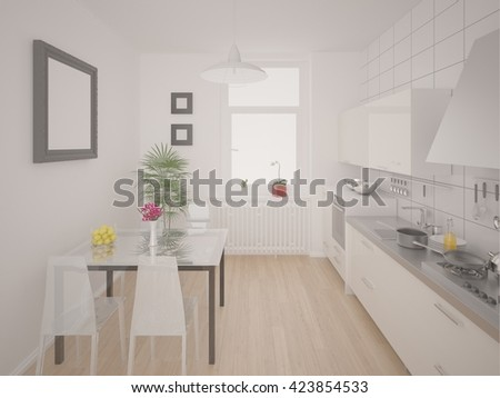 Comfortable bright kitchen with white furniture, 3d rendering. - stock photo