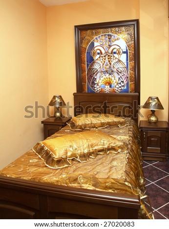 comfortable classic bedroom - stock photo