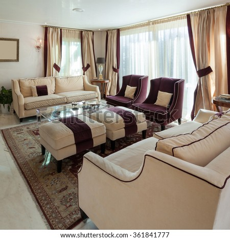 comfortable living room of an house, classic design furniture - stock photo