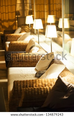 comfortable night interior illuminated by electric light - stock photo