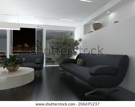 Comfortable office waiting room interior decor with grey upholstered sofa and armchair around a low table in front of a large potted plant - stock photo