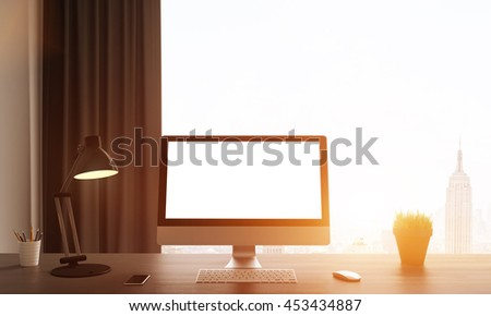 Comfortable workplace with computer screen. Big window facing New York city. Concept of work and study. 3D render. Mock up. Toned image. - stock photo