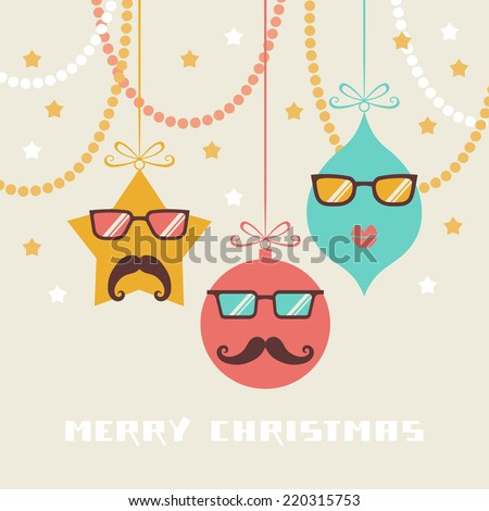 Comic christmas card. Cute decoration with mustache and glasses. Hipster winter holiday illustration. Simple original concept of funny party for print, web - stock photo