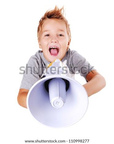 Comic closeup portrait of a boy  speaking through a megaphone against a white background - stock photo