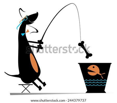 Comic dog fishes in a bucket - stock photo