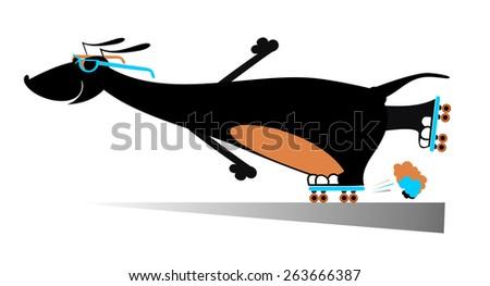 Comic dog roller skates silhouette - stock photo