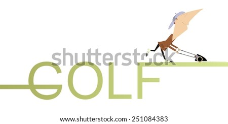 Comic golfer mows a golf lawn and leaves the word Golf behind - stock photo