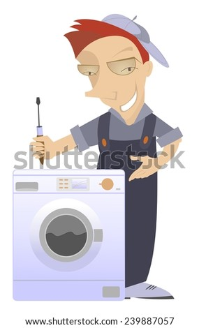Comic mechanic has repaired a washing machine washer - stock photo