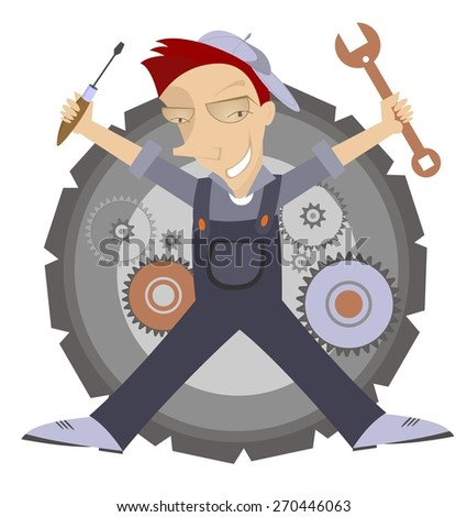 Comic mechanic with wrench and turn-screw in his hands  - stock photo