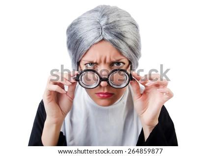 Comic nun isolated on white - stock photo