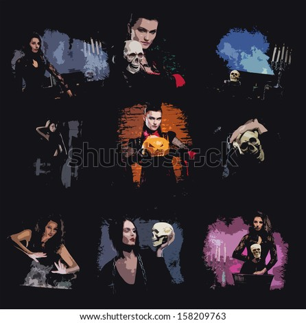 Comic strip collection of the Halloween illustrations with witches and vampires - stock photo