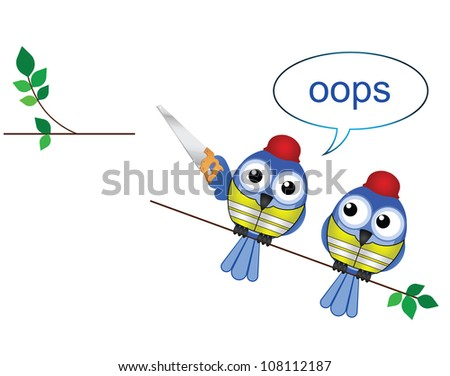Comical construction workers standing on the wrong side cutting a branch - stock photo