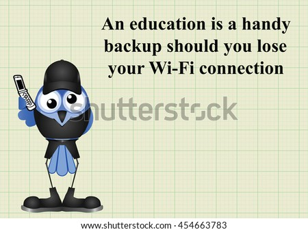 Comical education backup should you lose wifi connection and be unable to use a search engine on graph paper background with copy space for own text - stock photo