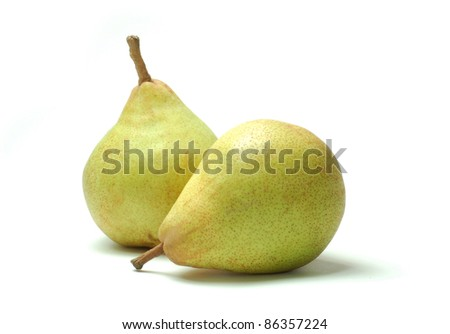 Comice pears on white background - stock photo