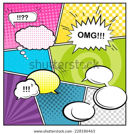 Comics pop art style blank layout template with clouds beams and dots pattern background  - stock photo