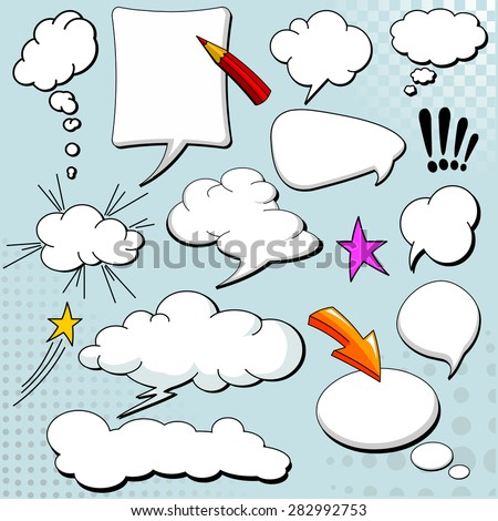 Comics style speech bubbles / balloons on yellow background - stock photo