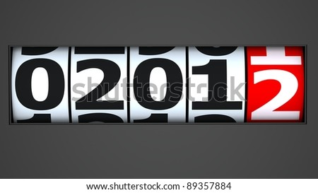 coming new year on automobile odometer - stock photo