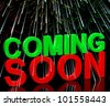 Coming Soon Words With Fireworks Shows New Product Arrival Announcement - stock photo