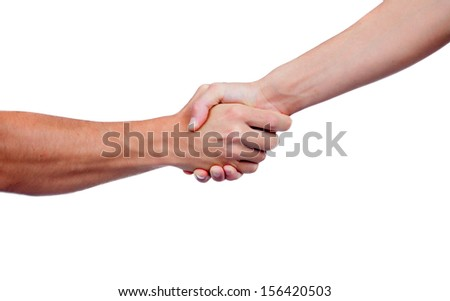 Coming to terms with a handshake isolated on a white background - stock photo