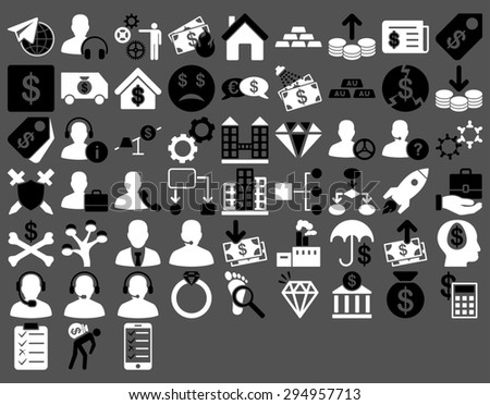 Commerce Icon Set. These flat bicolor icons use black and white colors. Glyph images are isolated on a gray background.  - stock photo