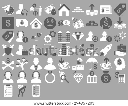 Commerce Icon Set. These flat bicolor icons use dark gray and white colors. Glyph images are isolated on a silver background.  - stock photo
